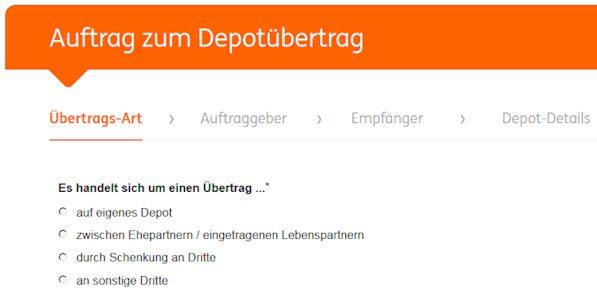 ING DiBa Depotwechsel Antrag