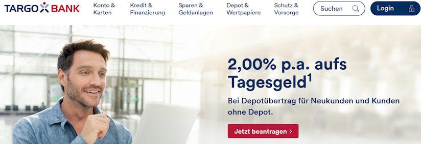 Tagesgeld Depot Kombinationsangebot mit 2% Zinsen bei der TARGOBANK