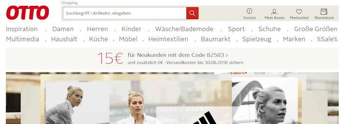 Die Webseite Ottode Startseite Vom Otto Versand