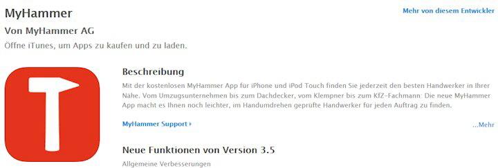 My-hammer download im App iTunes kostenlos möglich