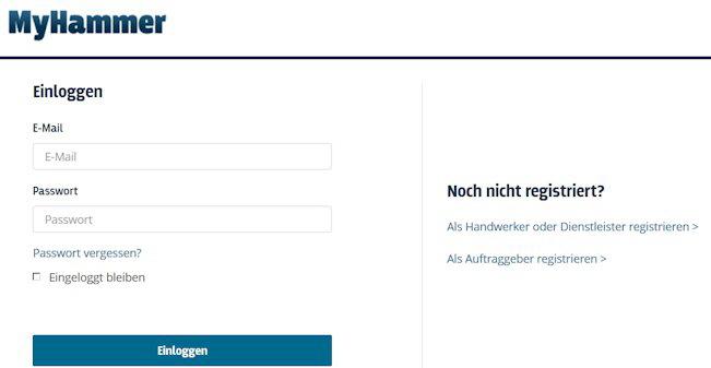 my-hammer Login: einloggen mit E-mail und Password