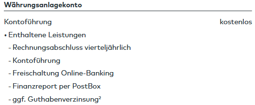 Beispiel für ein kostenloses Fremdwährungskonto aus dem Preis- Leistungsverzeichnis der comdirect