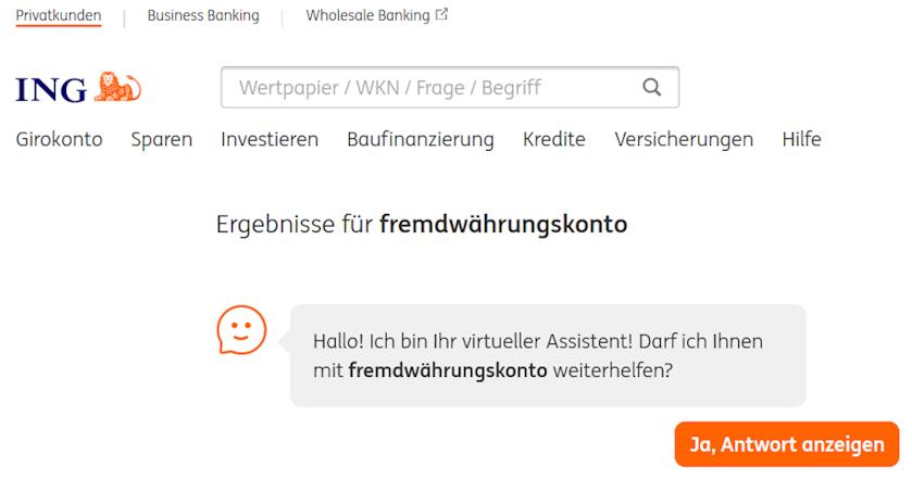 ING Fremdwährungskonto - Anfrage auf der ING Webseite