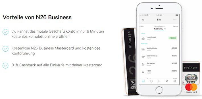 kostenloses Geschäftskonto von N26. diese Vorteile bietet das mobile Businesskonto