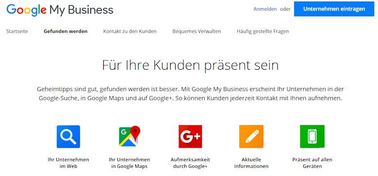 Übersicht des Google My Business Angebotes