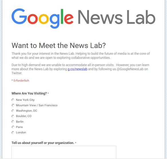 Hier können sich Journalisten für die Teilnahme für Google News Lab Innitiative bewerben