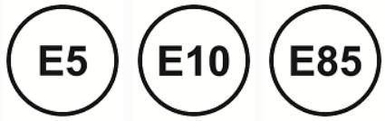 Benzin - Kraftstoffkennzeichnung. Das Symbol ist ein Kreis