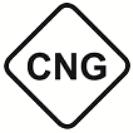 CNG ist die Kraftstoffkennzeichnung für komprimiertes Erdgas. Das Symbol ist eine RauteL