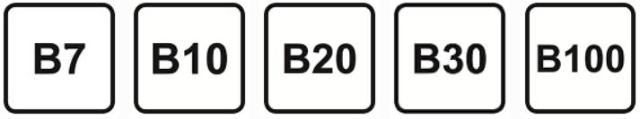 Diesel - Kraftstoffkennzeichnung. Das Symbol ist ein Quadrat. B steht für den Anteil Biodiesel