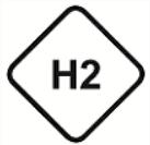 H2 ist die Kraftstoffkennzeichnung für Wasserstoff. Das Symbol ist eine Raute