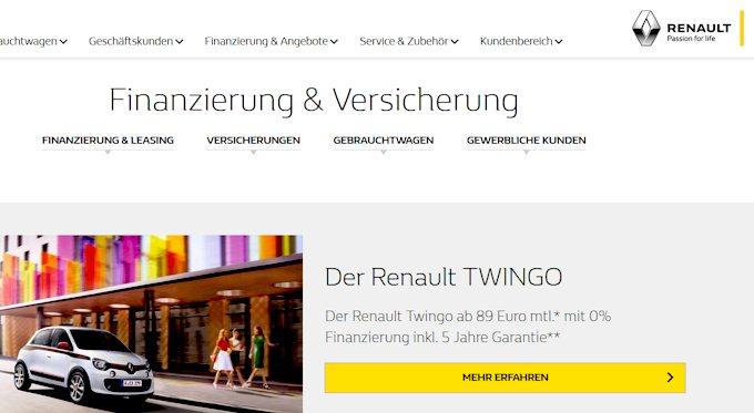 Ein Beispiel für eine 0 Prozent Finanzierung beim Auto ist der Renault Twingo
