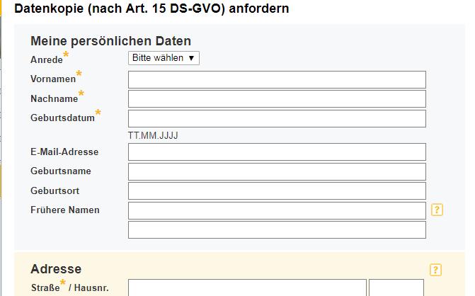 So sieht das online Formular für die kostenlose Schufa Selbstauskunft aus